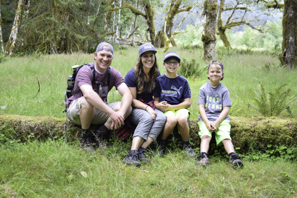 Family at Hoh Rainforest, Olympic National Park, Washington