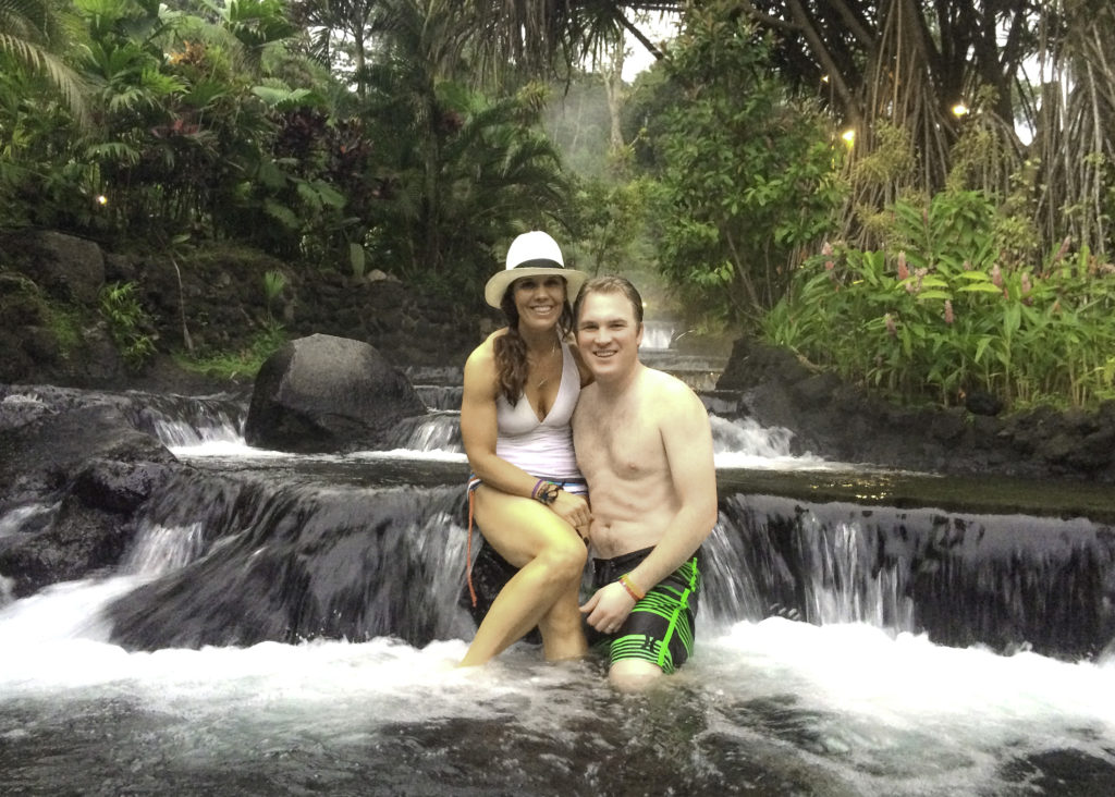 Soaking in the hot springs at Tabacon Hot Springs, Arenal, Costa RIca
