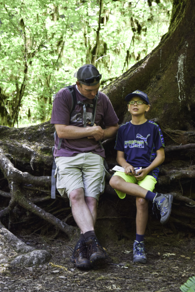Working on Junior Ranger packet in Olympic National Park, Washington