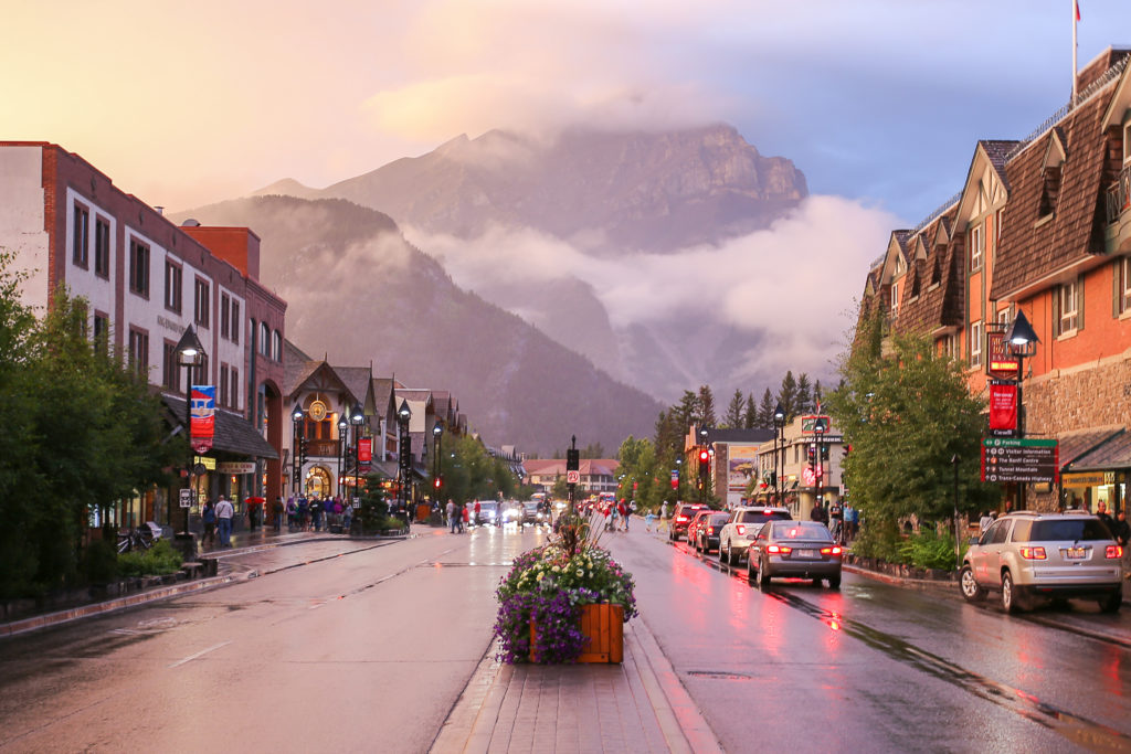 Downtown Street View of Banff, Alberta, Canada