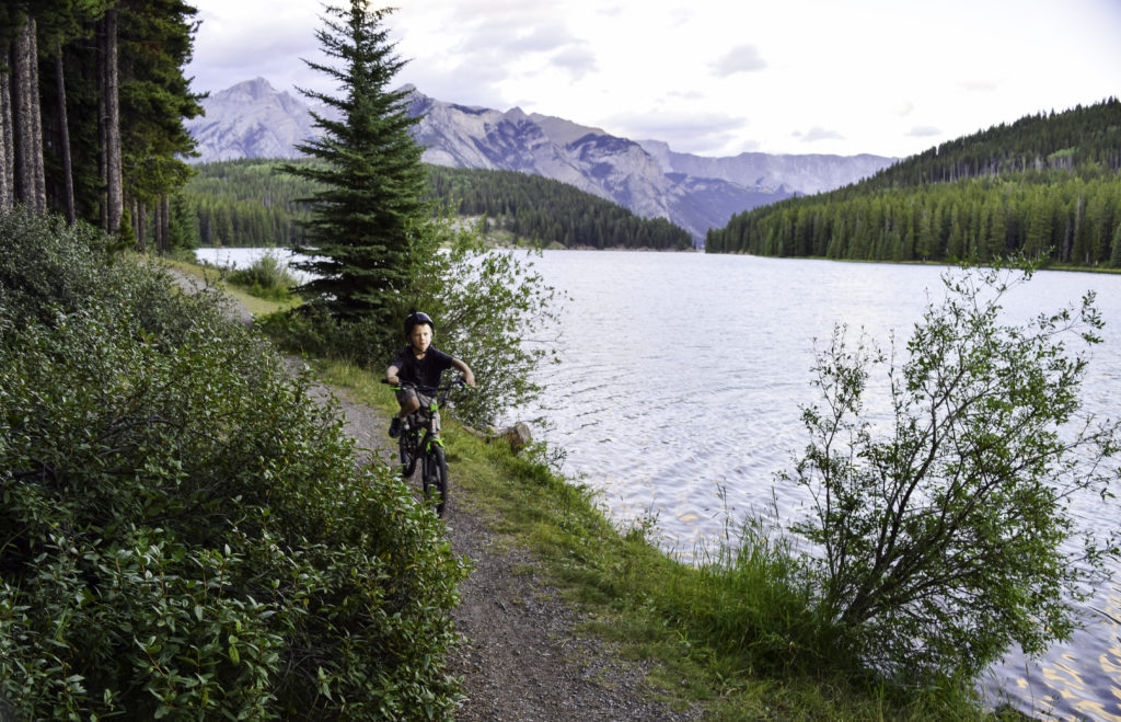 Biking along Two Jack Lake, Banff, Alberta, Canada