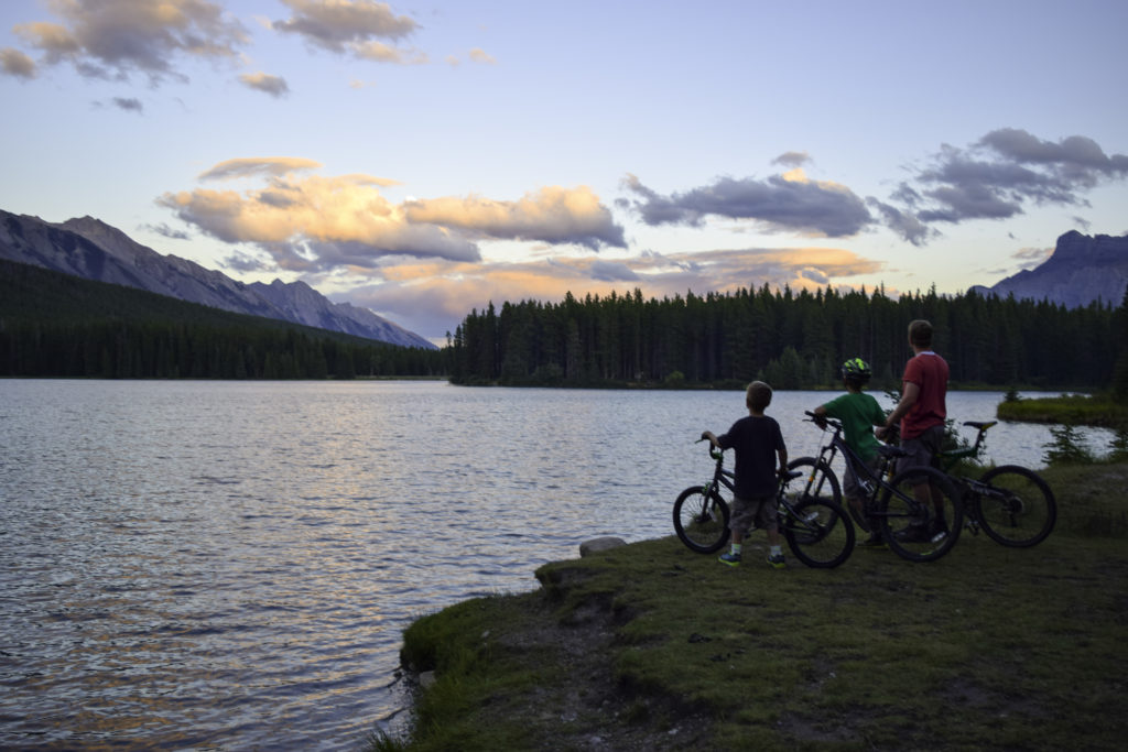 Biking around Two Jack Lake, Banff, Alberta, Canada