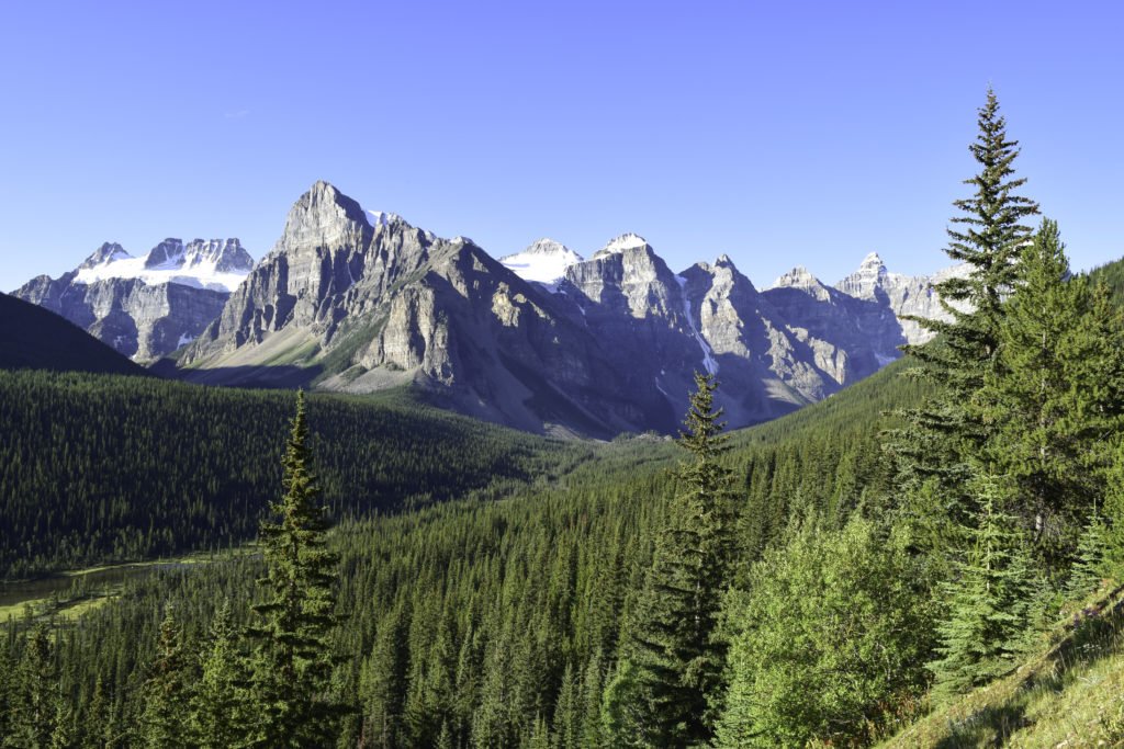 The Valley of Ten Peaks, on the drive to Lake Moraine, Banff, Alberta Canada
