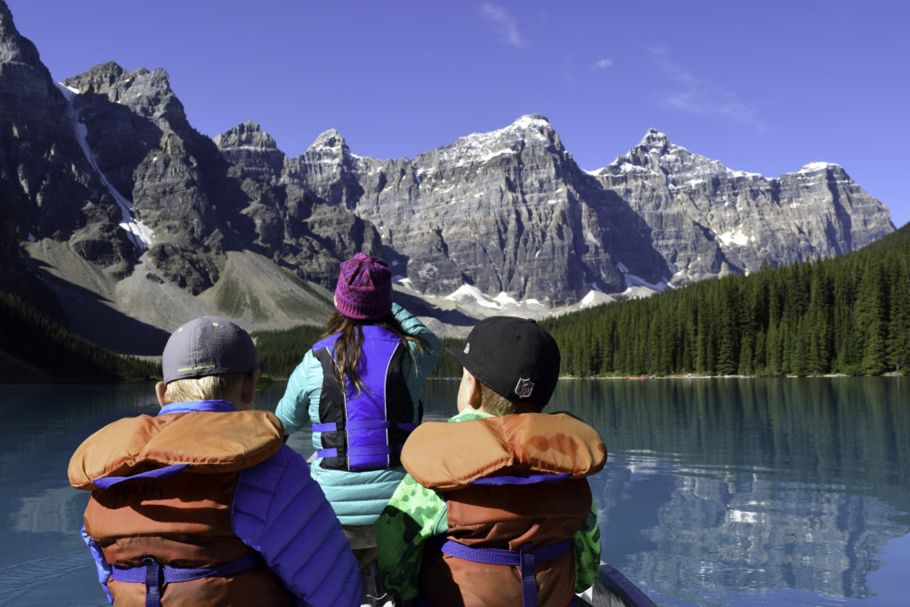 Canoeing on Lake Moraine, Banff, Alberta, Canada