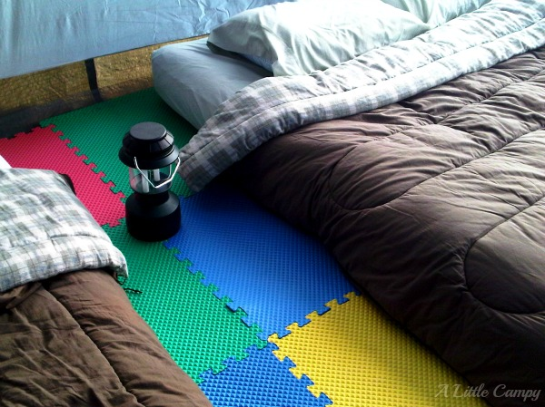 DIY Foam Floor Tiles In Camping Tent