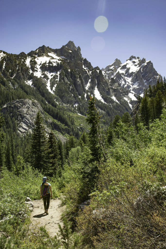 Hiking along Cascade Canyon trail, Grand Teton National Park, Wyoming