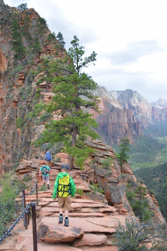 Hiking up the spine on Angel's Landing, Zion National Park, Utah