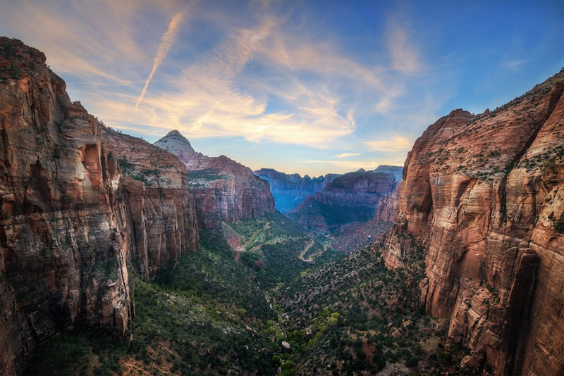 The view from Observation Point in Zion National Park, Utah