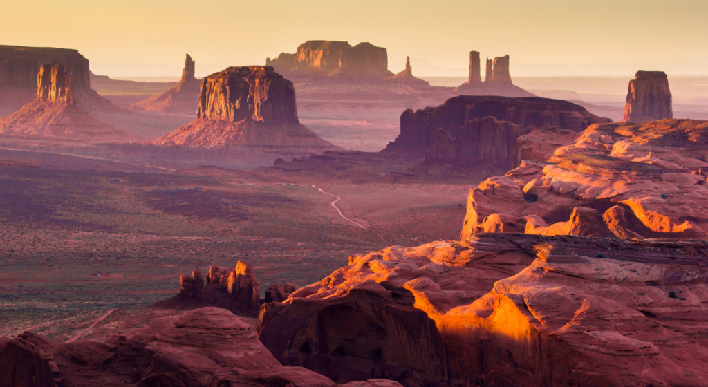 Sunset at The Hunt's Mesa in Monument Valley