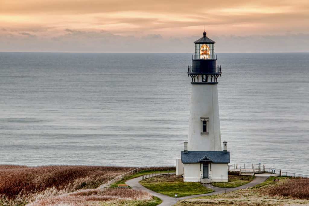 Yaquina Head Lighthouse in the town of Newport, Oregon