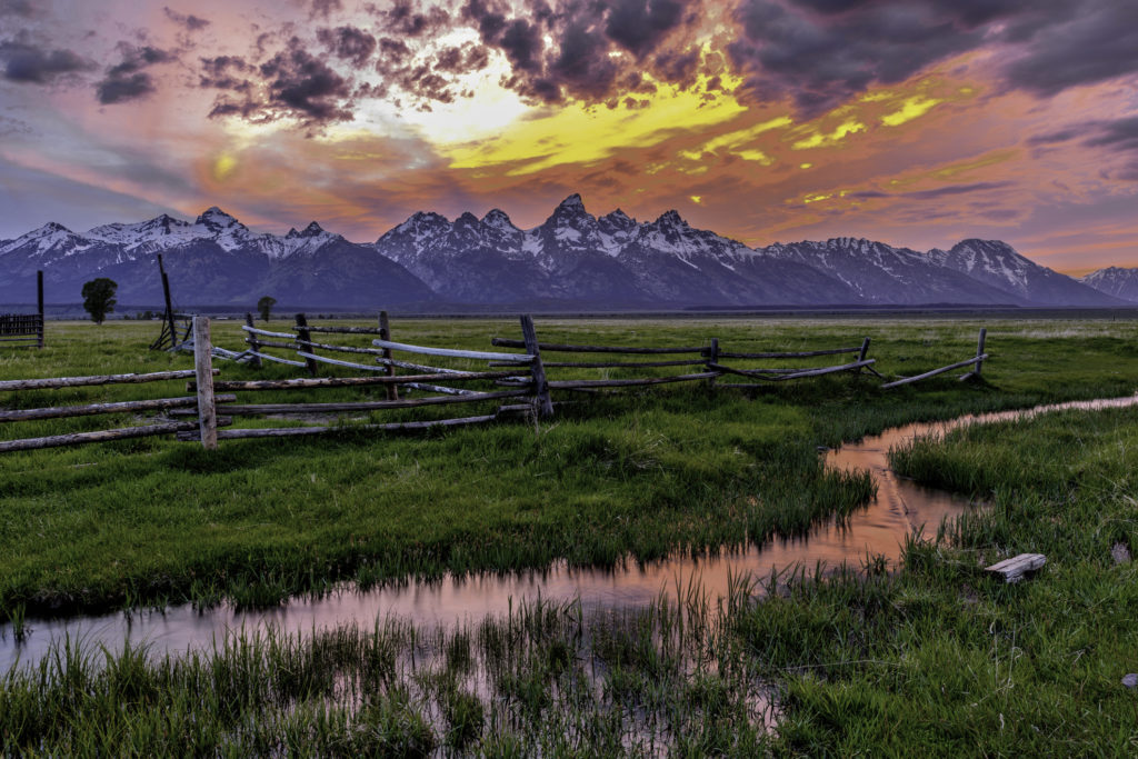 Sunset near Mormon Row, Grand Teton National Park, Wyoming