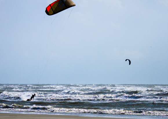 Kitesurfing at Folly Beach, Charleston SC