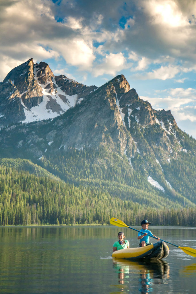 Canoeing on Stanley Lake in the Sawtooth Mountains, Idaho