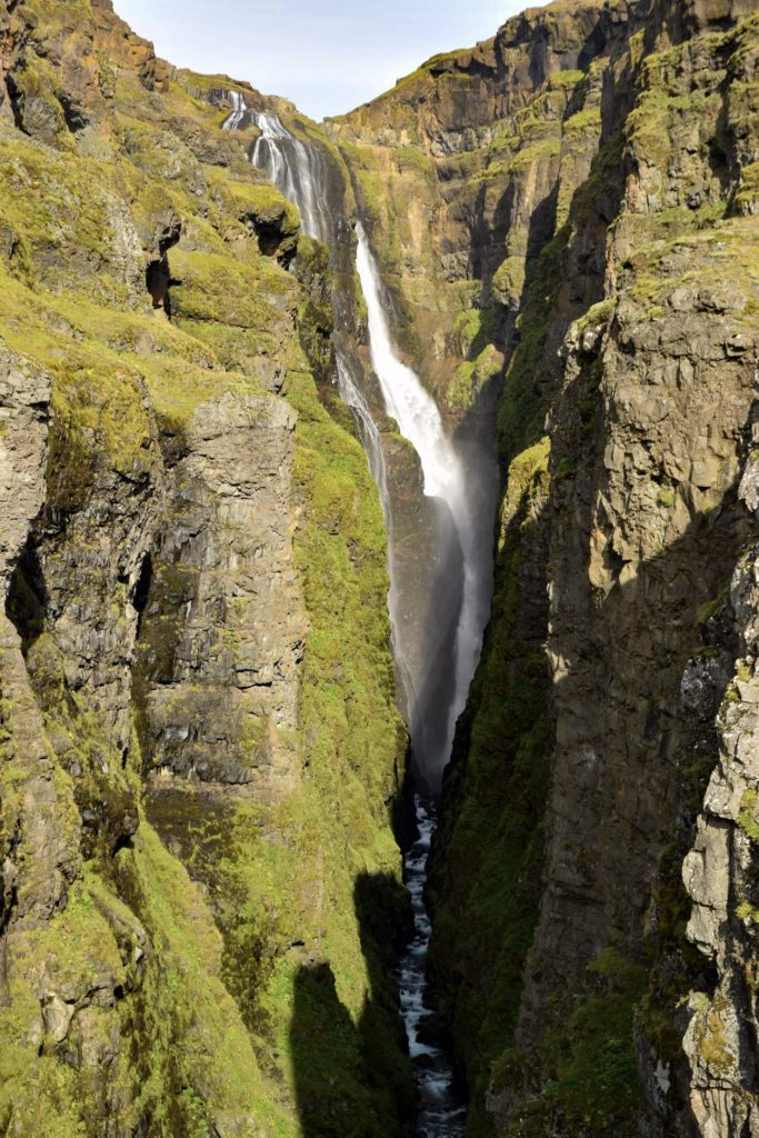Glymur Falls in canyon, West Iceland