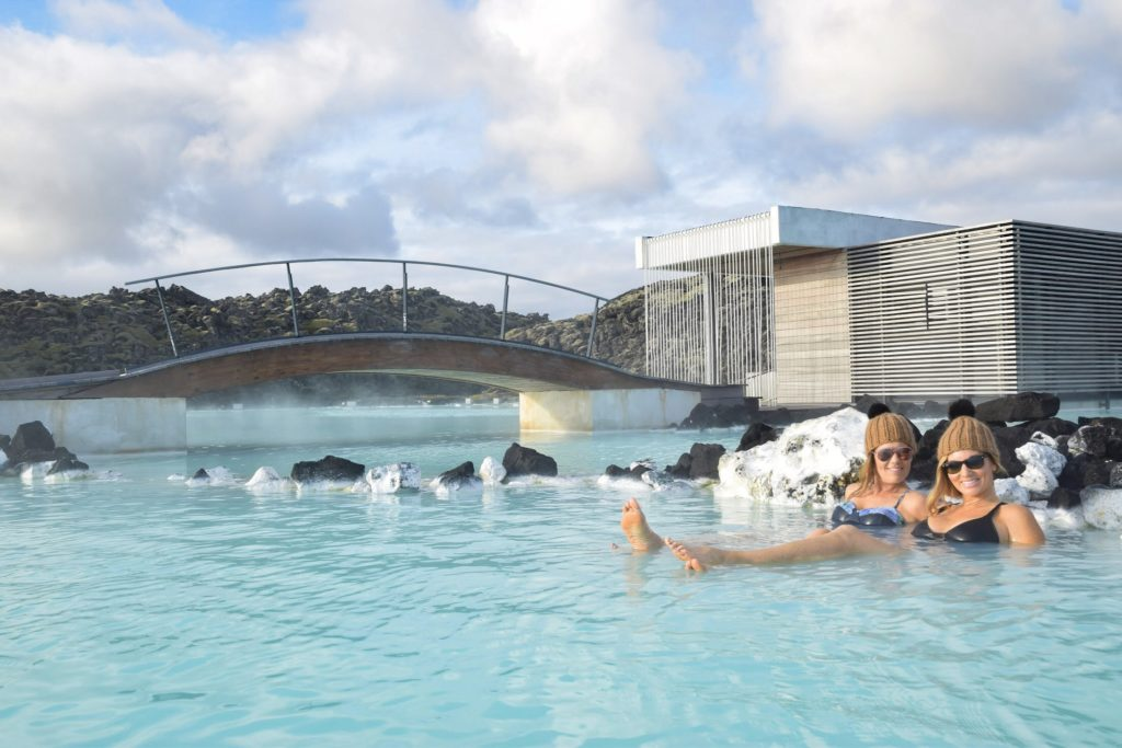 Two women relaxing in the Blue Lagoon, Iceland