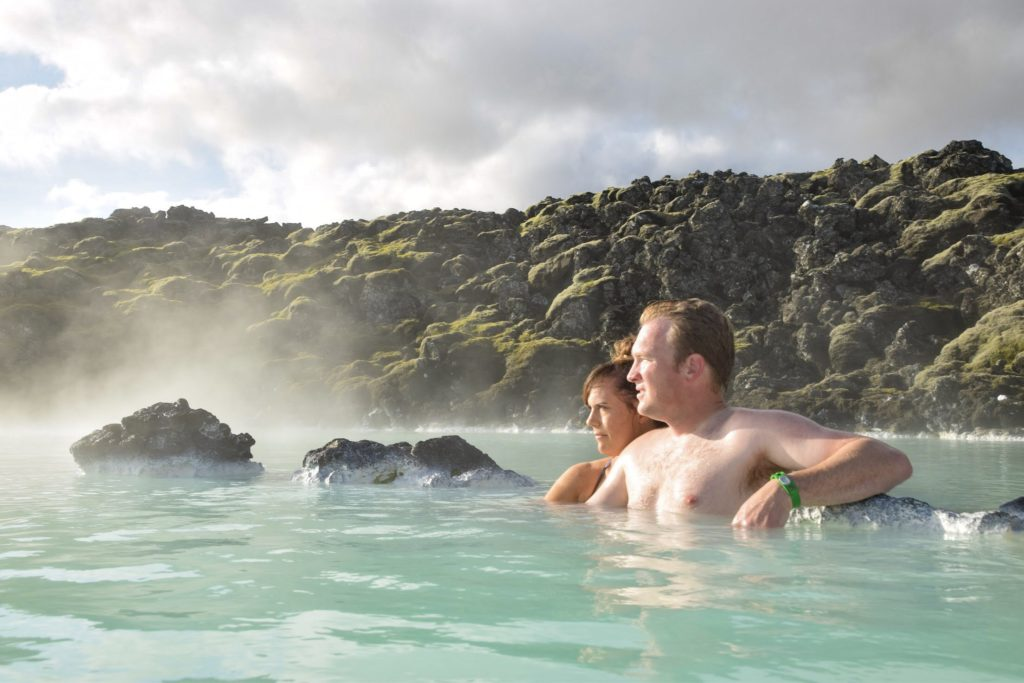 Couple relaxing in Blue Lagoon, Iceland