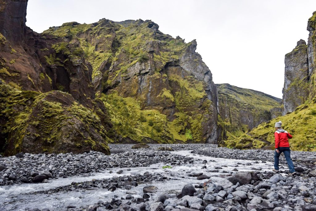 Hiking up a secret canyon in Thorsmork, Iceland