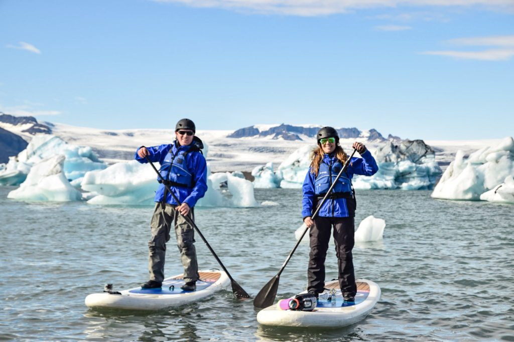 Paddleboarding with Arctic Surfers around glaciers at Jokulsarlon, Iceland
