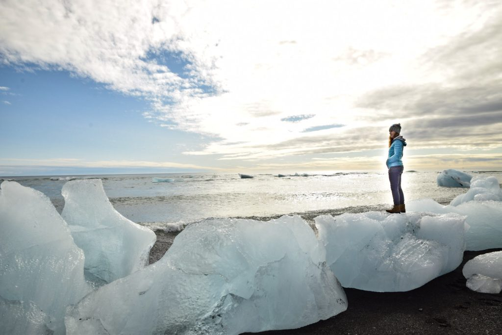Standing on top of ice at Diamond Beach, Iceland