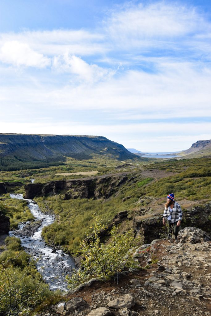 Hike to Glymur Falls in canyon, West Iceland