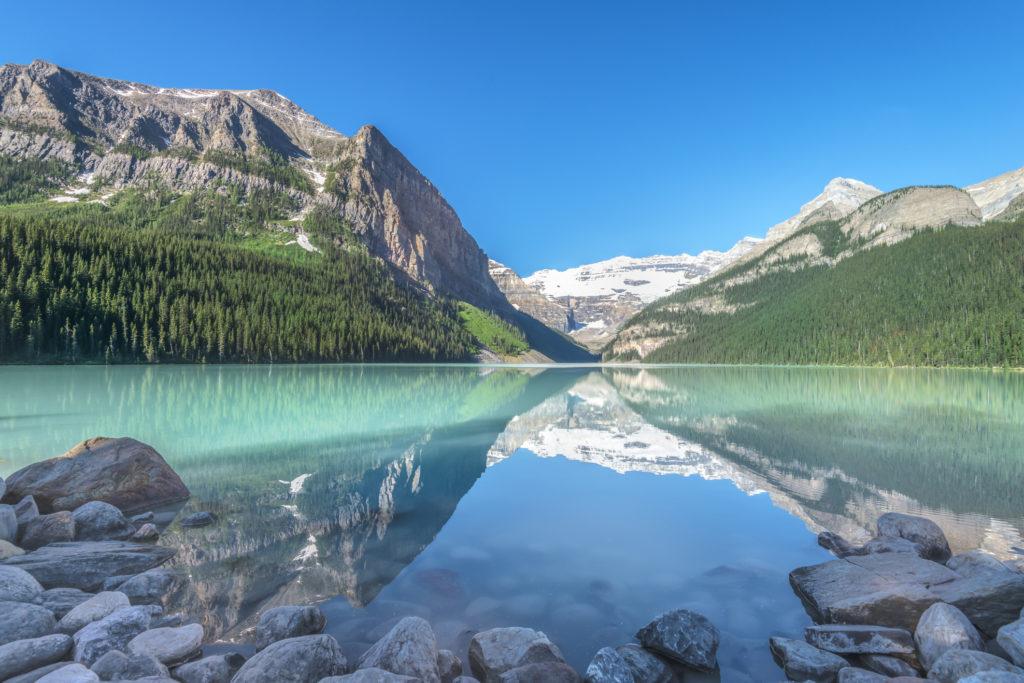 Lake Louise And Victoria Glacier Banff Alberta Canada